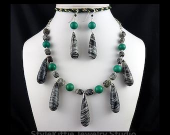 Black Web Jasper, Green Turquoise, 925 Sterling Silver, Adjustable, Dangle Necklace, Dangle Earrings, Long Briolettes, Gemstone, Jewelry Set