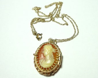 """Cameo Locket Necklace Solid 14k Gold Cameo Locket Pendant Carved Carnelian Shell Cameo on 17"""" Solid 14K Gold Rope Chain Aromatherapy Locket"""