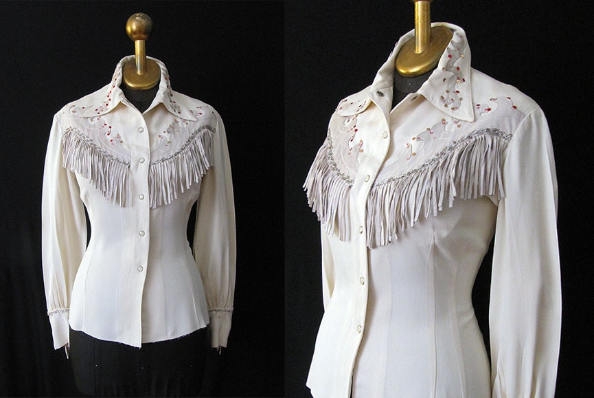 1950 39 S Rodeo Queen Cowgirl Shirt Patsy Cline Style