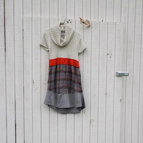 Funky Sweater Dress / Eco Dress / Upcycled Clothing / Tattered