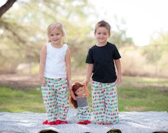 Christmas Pajamas. American Girl Matching Christmas Pajama Pant Set for Girl and Doll. Size 7 ONLY. Lightweight pants. Argyle