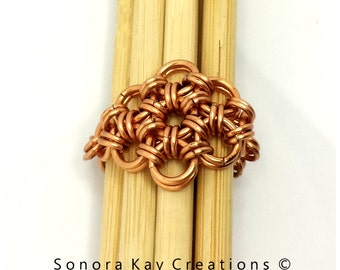 Natural Copper  Japanese 12 in 2 Chainmaille Weave Ring Custom Made to Order