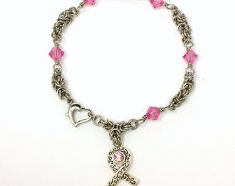 Byzantine Chainmaille Breast Cancer Awareness  Bracelet With  Pink Swarovski Crystals and Awareness Ribbon with Swarovski Crystal