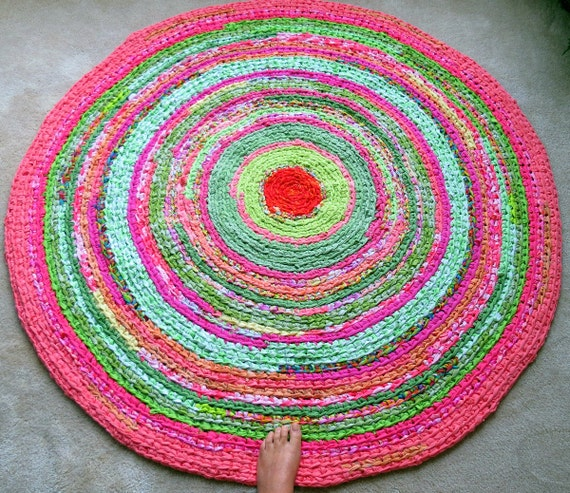 Rag Rug Custom Round Braided Crochet Lilly