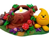 TEA LIGHT Woodland Parker Candle Holder - Polymer Clay Limited Edition Tree Stump Sculpture