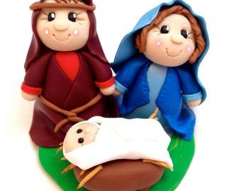 Polymer Clay Nativity Figurine - Holy Family featuring Mary Joseph & Baby Jesus - FREE US SHIPPING