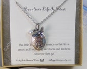 Beelieve Life Is Sweet,Necklace,Locket,Silver,Bee Necklace,Bee,Birthstone,Personalize,Silver Locket,Antique.Jewelry by valleygirldesigns.