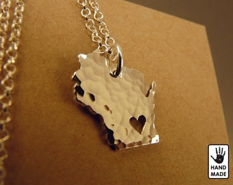Wisconsin State Map Handmade Personalized Hammered Fine Silver .999 Necklace in a gift box