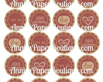 Round Valentine's Day Tags, Vintage Valentine Tags, Love, I Love You - Printables, Digital Download - Use with Treats, Candy, Favors, School