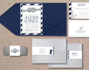 Nautical Wedding Invitation Set in Pocketfold - Deposit