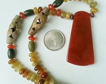 earthy natural stone necklace Carnelian Pendant