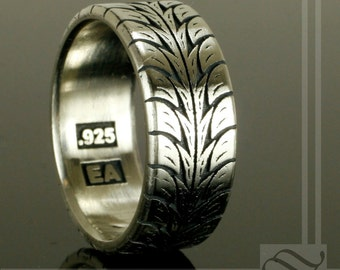 low profile tire tread ring sterling silver - Mud Tire Wedding Rings