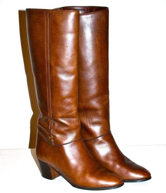 vintage gucci boots brown leather gold emblem buckle boots sz