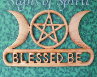 Triple Moon Goddess Blessed Be with Pentacle Celtic Knot Wood Carving-Celtic Goddess-Three Aspects of Woman