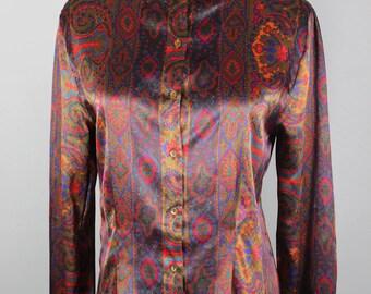 Silky Nicola 1987 Geometric Print Long-sleeve Blouse -- Sz Med