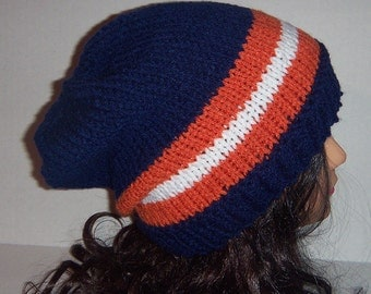 Chicago Team Hat, Blue, Orange and White Striped Beanie Hat, Mens Accessories Hat, MADE  TO ORDER