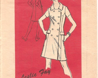 1960s Double Breasted Shirt Dress - Designer Vintage Pattern A566 Leslie Fay - Bust 36