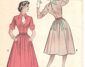 1950s Classic Shirtwaist with Flared Skirt - Vintage Pattern Butterick 5834 - Bust 32