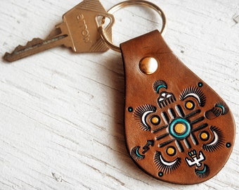 Leather Keychain - Native American designs - Mandala Dream Catcher with Zia, Thunderbird, Sunbursts and Lightning Bolts - Key ring fob