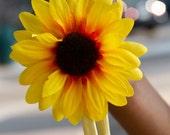 Single Sunflower Headband // Yellow Hippie Stretchy Headband with Flower // Newborn Headband / Women's Headbands // Natural Hair Accessory