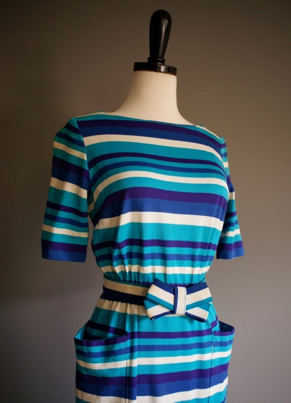 Vintage 50s HAYMAKER Stripe Sweater BOW Dress (xs-s)