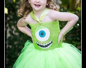 LITTLE GREEN MONSTER Monsters Inc Inspired Tutu Dress with Ear Clippies - Medium 2/3 T