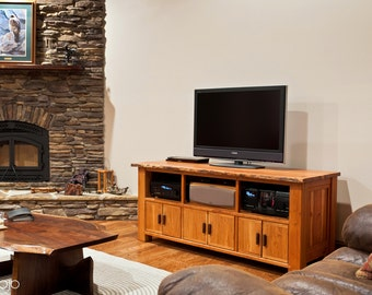 Live Edge Cherry Media Console - entertainment center- storm fallen cherry - Salvaged Hardwood - Accent Woods - Family Room furniture