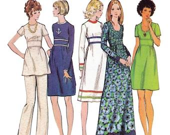 70s Midriff Band Dress Tunic Pants Pattern Butterick 6601 Boho Vintage Sewing Pattern Size 12 Bust 34 inches
