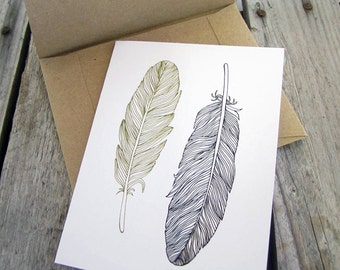 Feather Note Cards wedding thank-you notecards feathers 4 rustic Greeting Cards and envelopes with feather illustration blank inside tribal