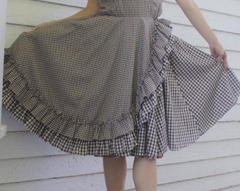 Gingham Dress Brown Print Square Dance Rockabilly Vintage M