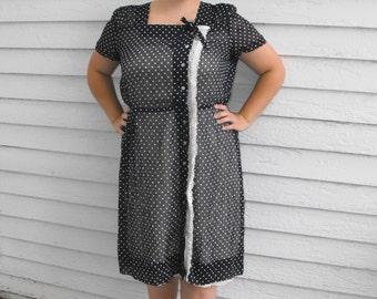 50s Sheer Polka Dot Dress Blue Vintage 1950s Plus XXL 50 Bust 40 Waist