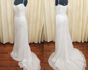 Vintage Sexy White Wedding Dress with Swarovski Crystal and Glass Beading Long Train