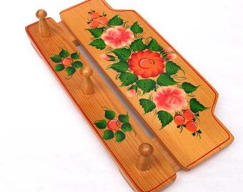 Vintage Wooden Wall Hanger / Hook Set - Russian Folk Art - Floral Design