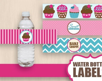 CUPCAKE Water Bottle Label Wrappers & Decorative Bands in Pink and Teal- Instant Printable Download