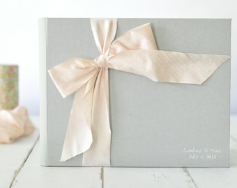 Photo Book - Custom Wedding Album - Silk Dupioni Bow by Claire Magnolia
