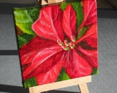 Poinsettia Painting - Small Acrylic Painting Christmas Art for Holiday Decor - Red and Green