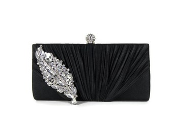 Black Clutch, Evening Bag, Bridesmaids Clutch, Rhinestone Evening Bag, Wedding Accessories, Bridal Accessories