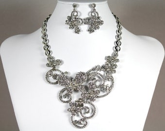 Butterfly Wedding Jewelry Set, Bridal Statement Necklace Earrings, Crystal Rhinestone Bridal Necklace, Vintage Style Necklace Earrings