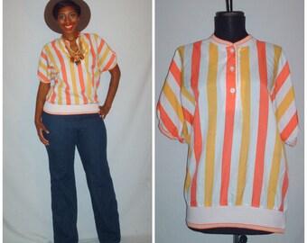 Vintage 1980s Orange Stripe Blouse