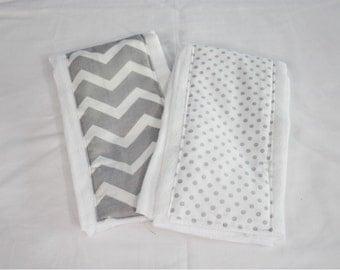 Grey and White Chevron and Polka Dot Burp Cloths - Set of 2