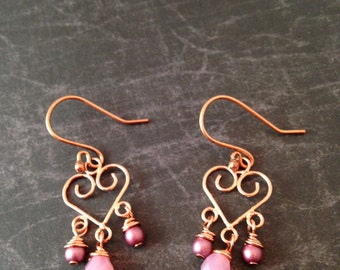 Shiny Copper Heart and Pink Pearl and Glass Chandelier Earrings