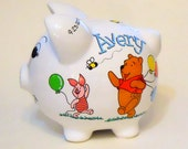 Personalized Piggy Bank Winnie the Pooh, Piglet, Eeyore Balloons  and Bees