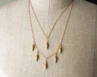 Gold Spike Necklace, Layering Necklace, Boho Gold Necklace, Chain Necklace, Spike Necklace