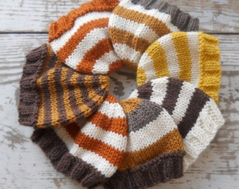 Baby Hat, Newborn Knitted,Hand Knit Infant Cap, Fall Colors, Photo Prop, NB 0-3 3-6 mo Beanie, Pumpkin, Chocolate, Cream, Honey, Autumn SALE
