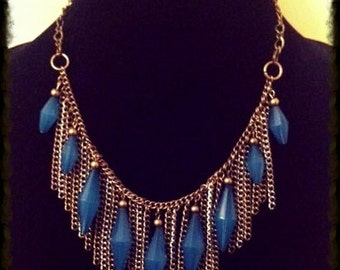 Dusty Blue Crystal Fringe Necklace