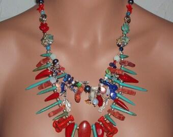 SUMMER PROMOTION Coral Reef Wonders handmade  necklace euc artteam fae eth tt