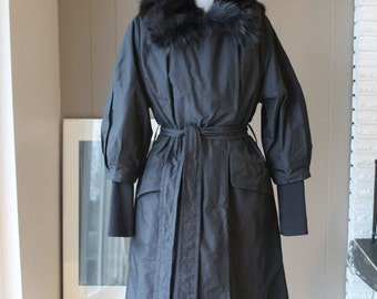 60s Style Jackie O Paris Runway Coat with detachable mink collar 60s Jackie O Sleeves Detachable quilted lining