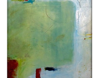Large Original Abstract Painting on Canvas Contemporary/Modern - 24x36 - Greens, Grays, Whites and more