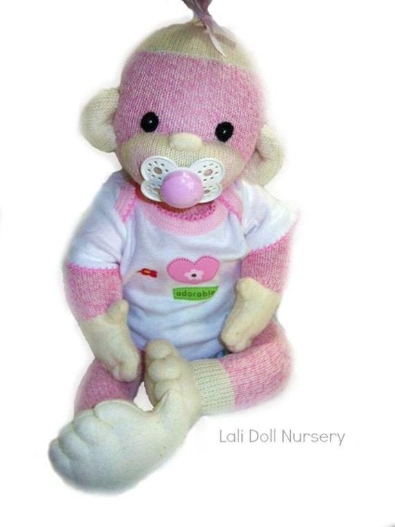 Baby Sock Monkey - Kit and pdf Pattern