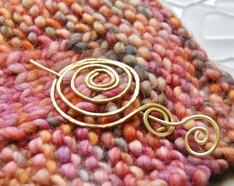 Brass or copper spiral shawl brooch scarf pin
